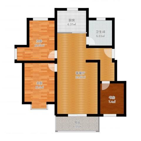 东湖庄园3室2厅1卫1厨108.00㎡户型图