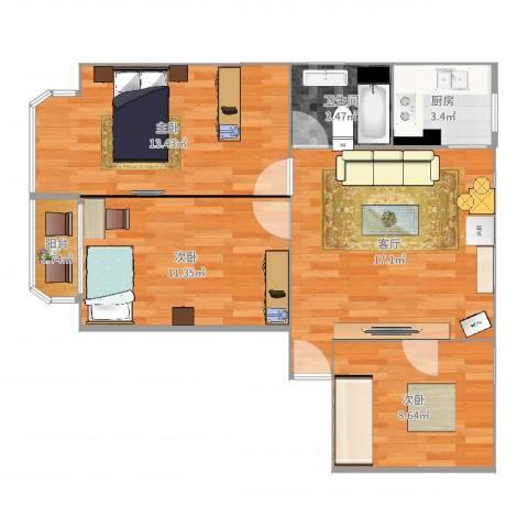 仁宝公寓3室1厅1卫1厨74.00㎡户型图