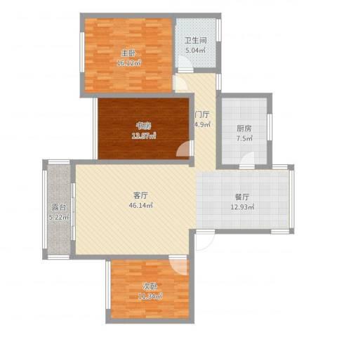 万悦城3室1厅1卫1厨132.00㎡户型图