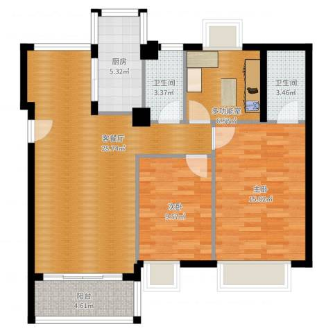 西堤国际花园2室2厅2卫1厨97.00㎡户型图