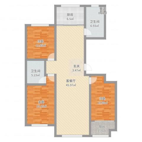 富氏壹号公馆3室2厅2卫1厨136.00㎡户型图