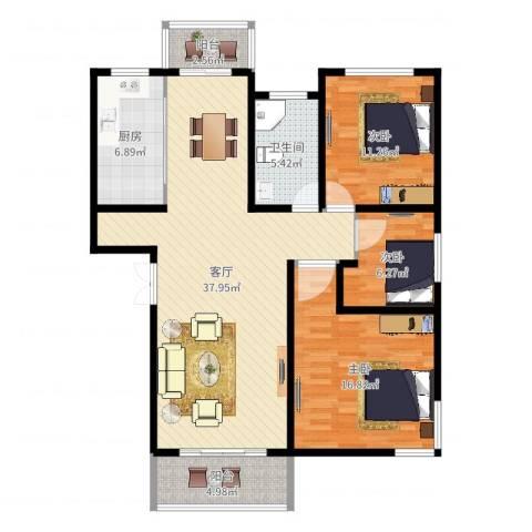 贝越流明新苑3室1厅1卫1厨115.00㎡户型图