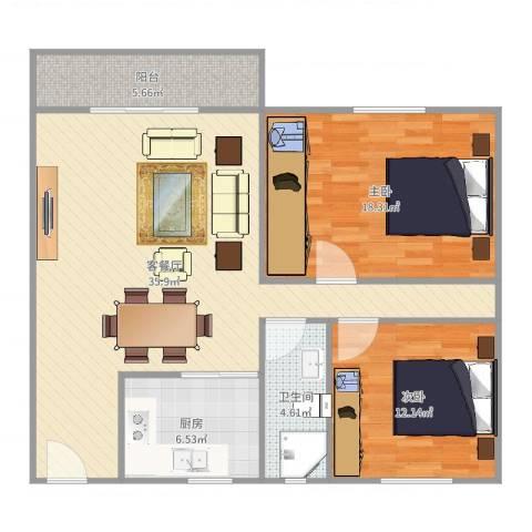 白鹭花园2室2厅1卫1厨104.00㎡户型图