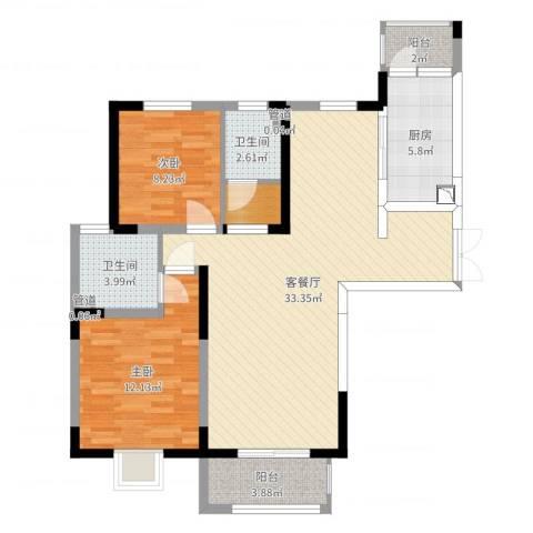 宏润花园2室2厅5卫1厨92.00㎡户型图