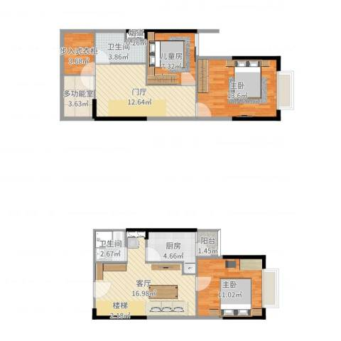 华宇时代新都3室1厅3卫1厨102.00㎡户型图