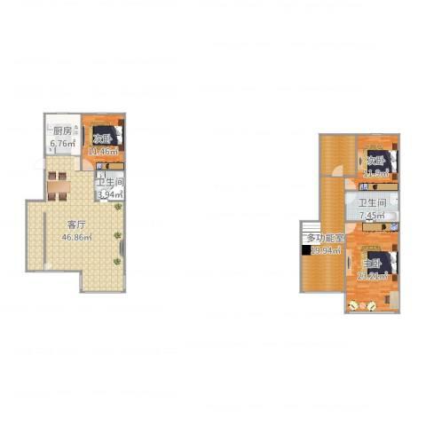 御品星城3室1厅2卫1厨173.00㎡户型图