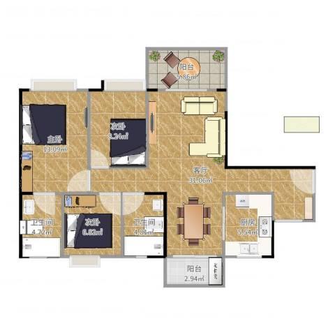 丽景名筑3室1厅2卫1厨104.00㎡户型图