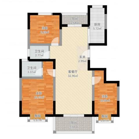 东城国际3室2厅2卫1厨110.00㎡户型图
