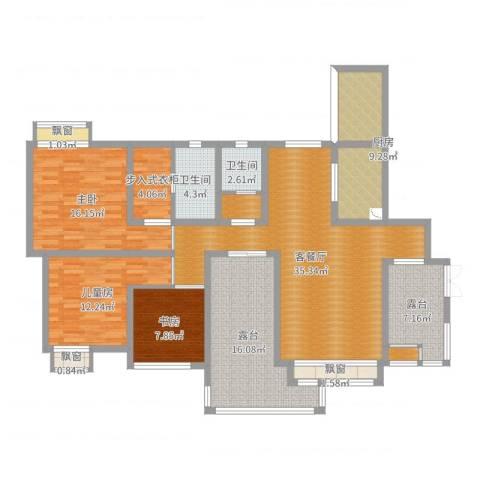 金海域3室2厅2卫1厨151.00㎡户型图