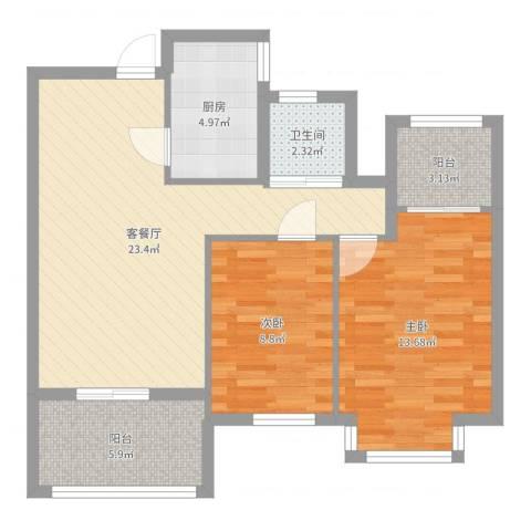 莱蒙水榭阳光2室2厅1卫1厨78.00㎡户型图