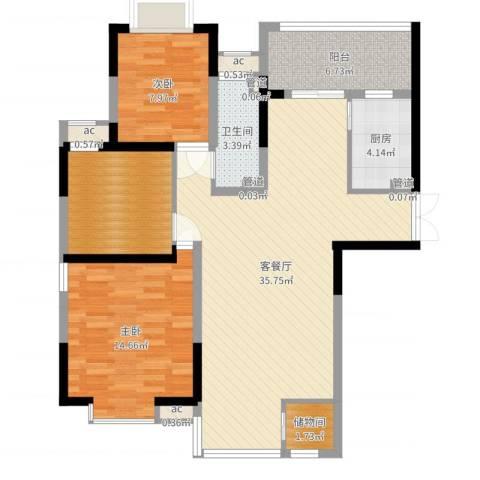 紫薇臻品2室2厅7卫1厨106.00㎡户型图