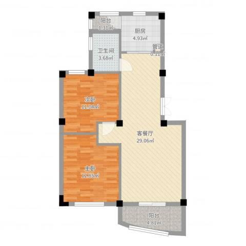 凤凰花园2室2厅1卫1厨85.00㎡户型图