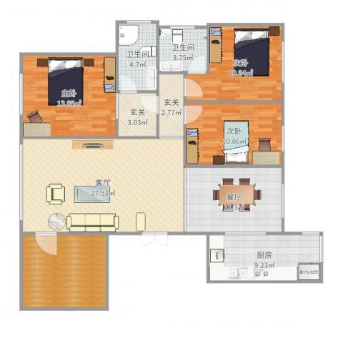 盟科涵舍3室2厅2卫1厨136.00㎡户型图