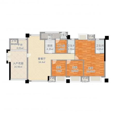 风华豪庭3室2厅3卫1厨151.00㎡户型图