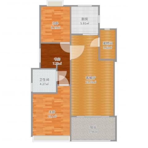 金杨金台苑3室2厅1卫1厨92.00㎡户型图