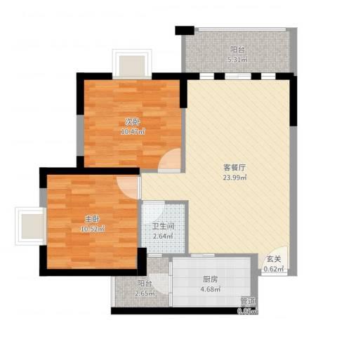 丰泰裕田花园2室2厅1卫1厨75.00㎡户型图