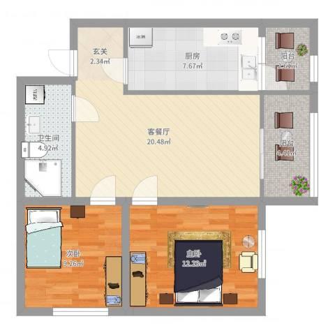 松浦观江国际2室2厅1卫1厨77.00㎡户型图