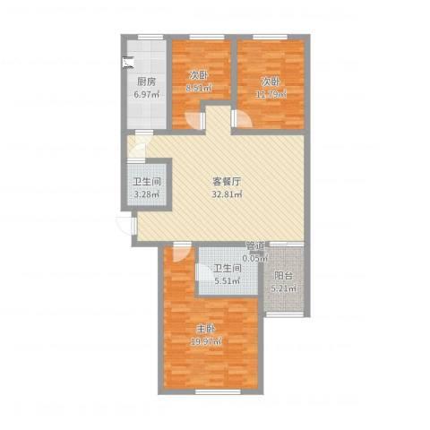 玉门河小区3室2厅2卫1厨118.00㎡户型图