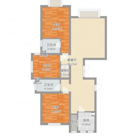 天津市武清区南湖一号3室2厅2卫1厨113.00㎡户型图