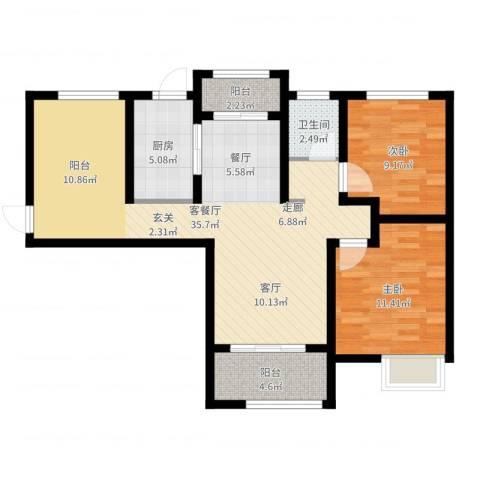 天正银河湾2室2厅1卫1厨88.00㎡户型图