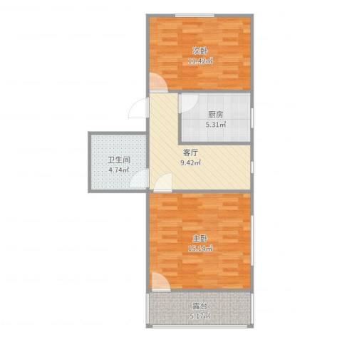 龙南五村2室1厅1卫1厨64.00㎡户型图