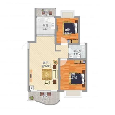 丽都成品2室1厅1卫1厨98.00㎡户型图