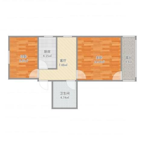 龙南五村2室1厅1卫1厨56.00㎡户型图