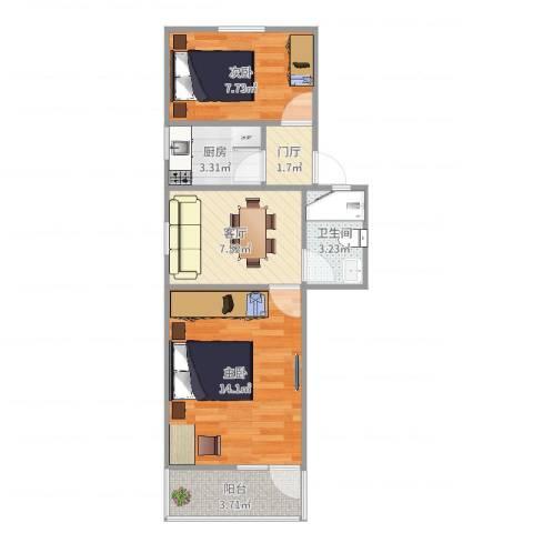 龙南五村2室1厅1卫1厨52.00㎡户型图