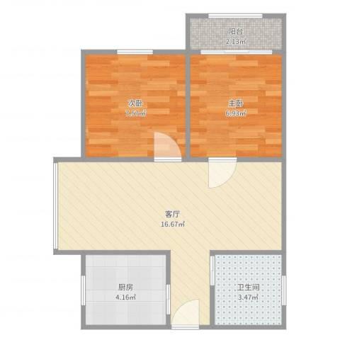 上海本色2室1厅1卫1厨51.00㎡户型图