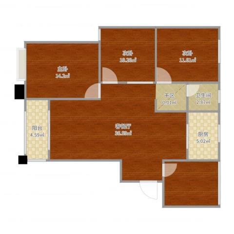 天鹅湾国际滨水社区3室2厅1卫1厨117.00㎡户型图