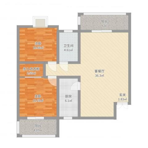 西安印象2室2厅1卫1厨104.00㎡户型图