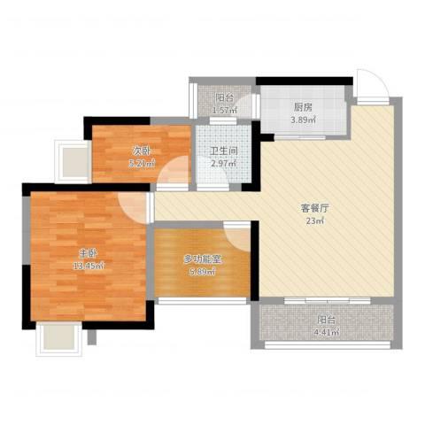 卢浮公馆2室2厅1卫1厨75.00㎡户型图