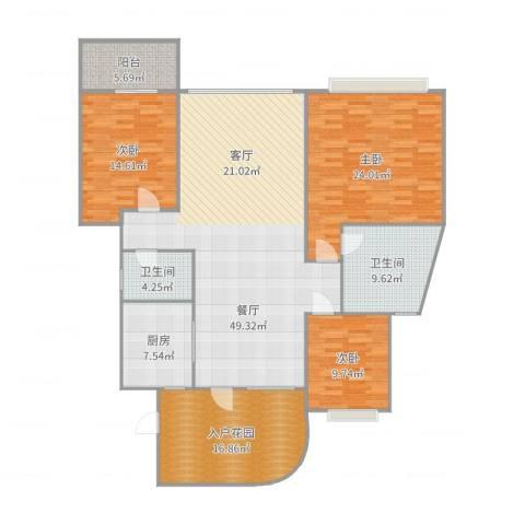 盛世钱塘3室1厅2卫1厨177.00㎡户型图