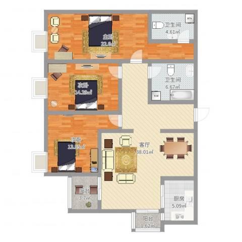 电子城小区3室1厅2卫1厨138.00㎡户型图