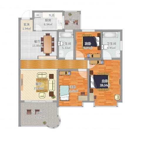 丽景花城3室2厅2卫1厨145.00㎡户型图