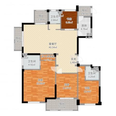 奉化中央花园4室2厅3卫1厨161.00㎡户型图