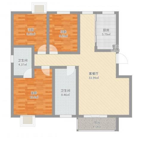 隆港・新地城3室2厅2卫1厨111.00㎡户型图