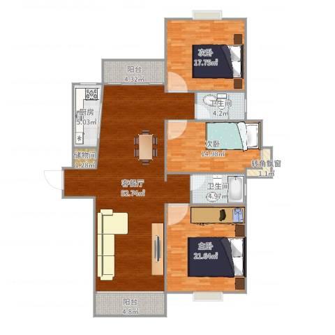 阳光美景城三期3室2厅2卫1厨166.00㎡户型图