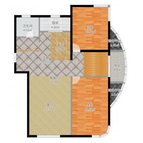 君豪绿园2室2厅1卫1厨141.00㎡户型图
