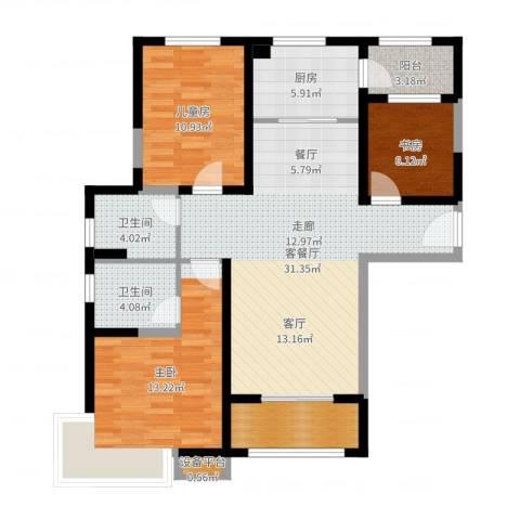 碧桂园滨海城3室2厅2卫1厨105.00㎡户型图