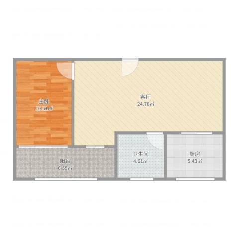 世纪非凡怡园1室1厅1卫1厨65.00㎡户型图