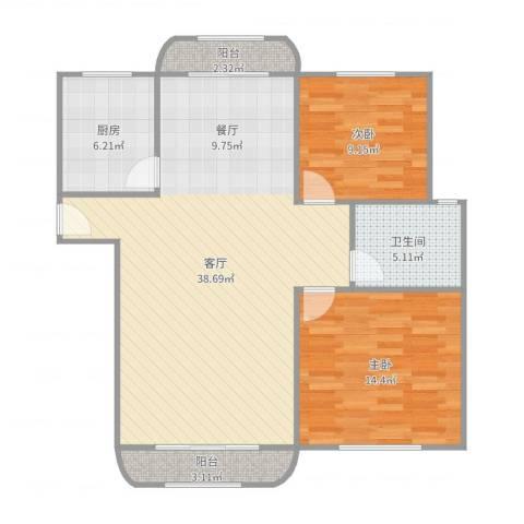 世纪非凡怡园2室1厅1卫1厨99.00㎡户型图