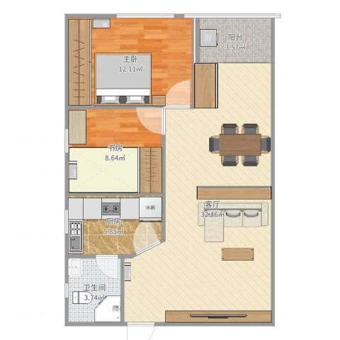 美豪村2室1厅1卫1厨98.00㎡户型图