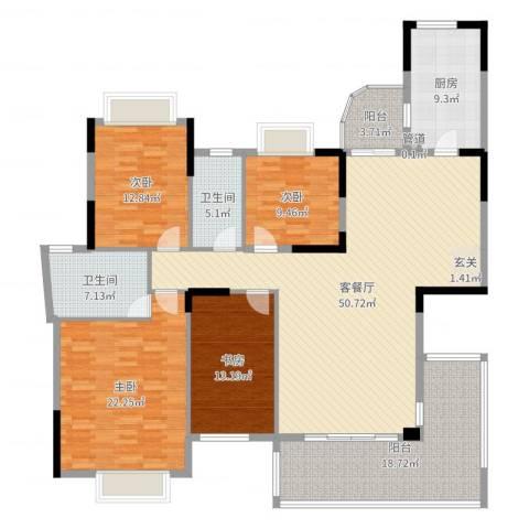 万科松山湖1号4室2厅2卫1厨191.00㎡户型图