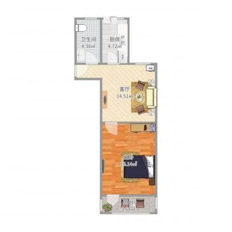 清涧八街坊1室1厅1卫1厨54.00㎡户型图