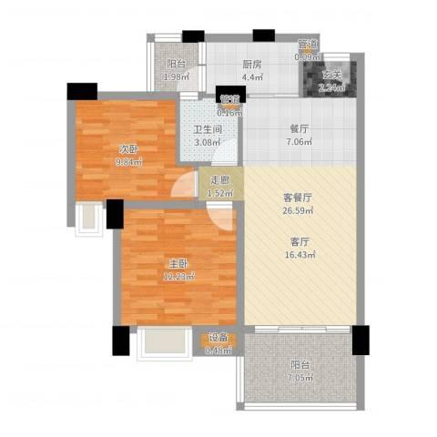 怡丰翠云轩2室2厅1卫1厨82.00㎡户型图