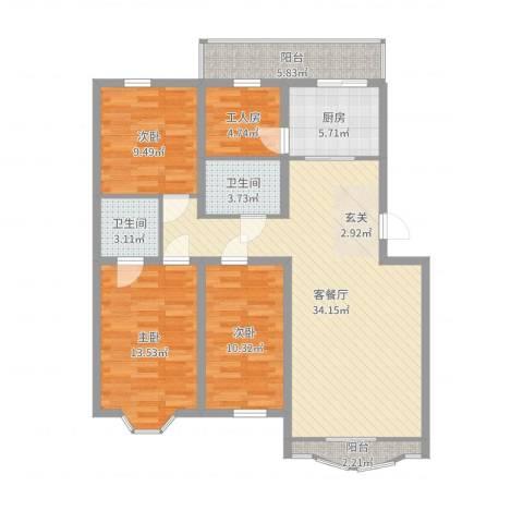 万达花园3室2厅2卫1厨116.00㎡户型图