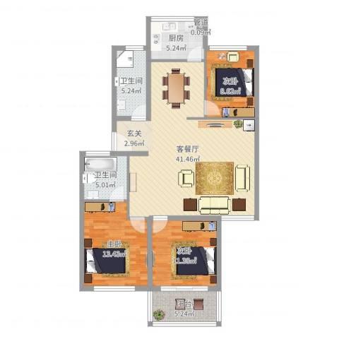 望春桂花苑3室2厅2卫1厨120.00㎡户型图