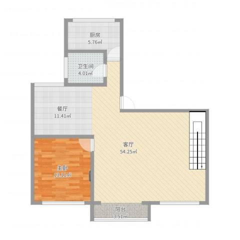 金桥湾清水苑1室1厅1卫1厨96.00㎡户型图