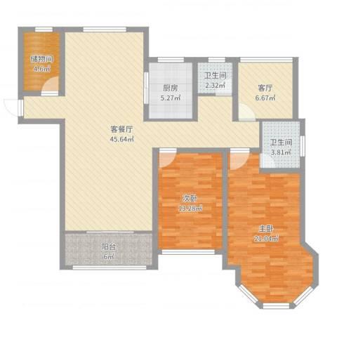 中南锦城2室3厅2卫1厨136.00㎡户型图
